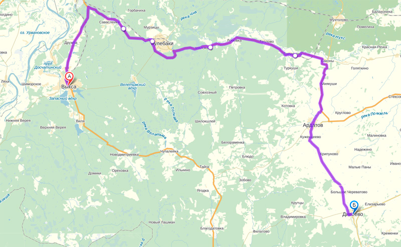 Маршрут пути из города Выксы в село Дивеево.
