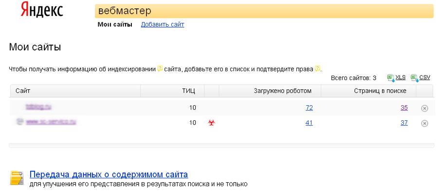 Зараженный сайт в панели Яндекс Веб мастер